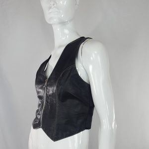 Vintage black leather zippered vest Small